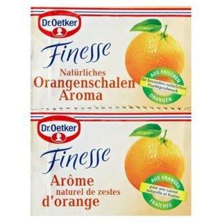 Dr. Oetker finesse natural orange peel aroma grated orange peel with dextrose, stabilized, 2 pieces á 6 g 12 g bag